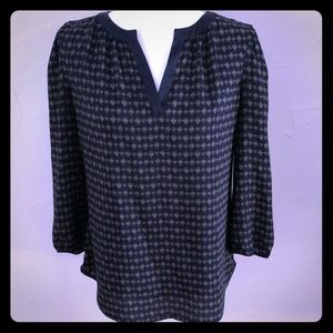 Ann Taylor Navy Patterned Blouse Size Small!